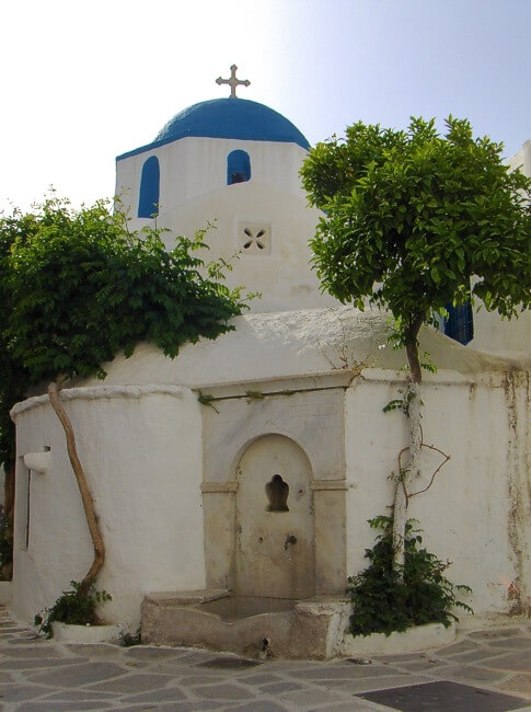 Paros Island. A Greek Church - cruise to the Greek islands