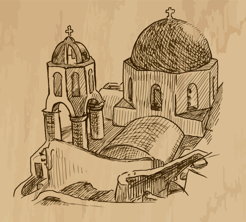 Greek orthodox church drawing, Mount Athos