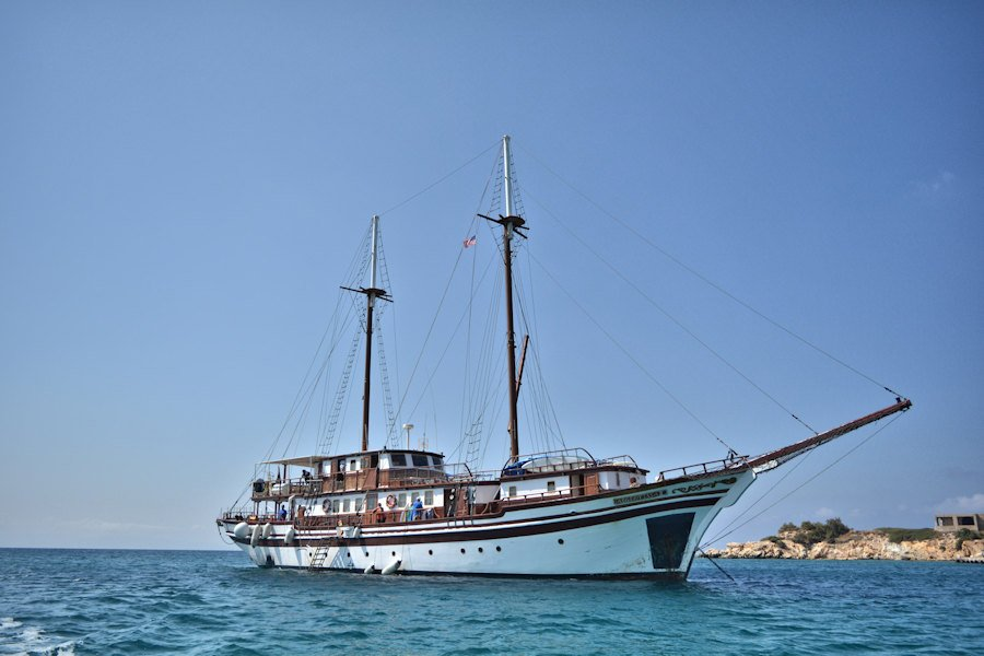 Traditional wooden Greek yacht