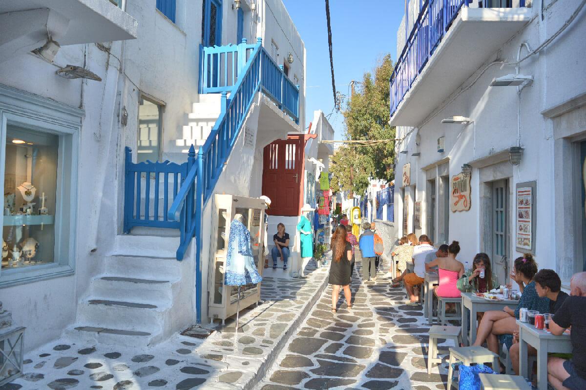 Visit Mykonos onboard a yacht cruising the Greek islands