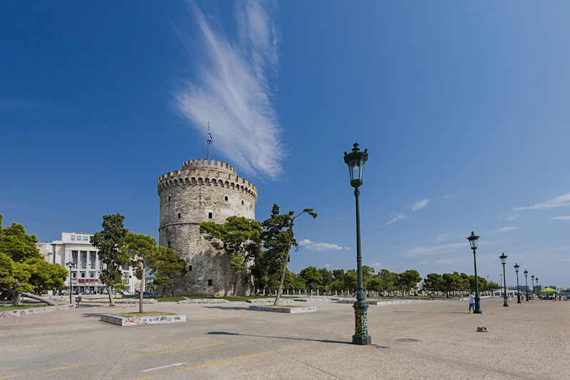 Thessaloniki's white tower, visiting Aigai in Vergina, Macedonia, Greece