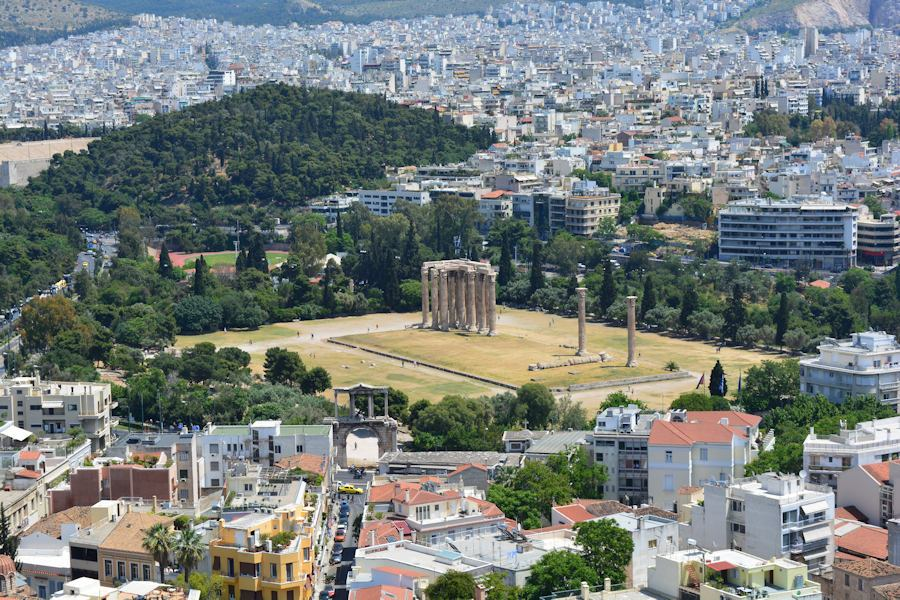 Stelai Olympiou Dios, Athens, view from the Acropolis