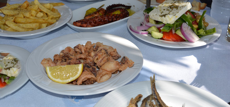 Greek food, various dishes in a tavern