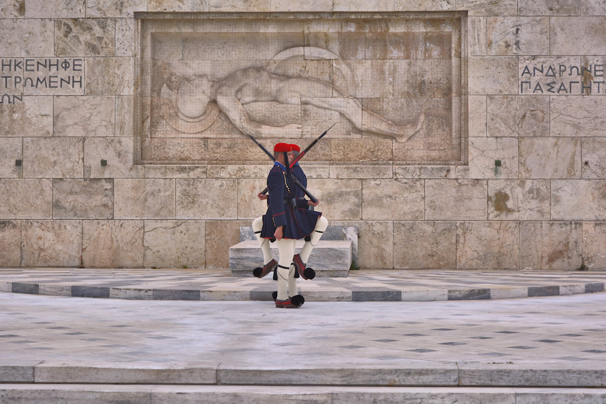 Unknown Soldier Monument, Syntagma Square, Athens, Greece. Evzones, Greek National Guard, where to go in Greece